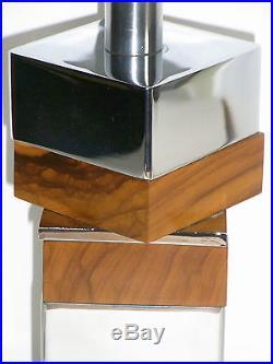 08b47 Ancien Pied De Lampe Chrome Design Moderniste Cubiste Designer Scandinave