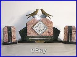 09b52 Ancienne Pendule Horloge Marbre Art Déco Statue Régule Hirondelle 1940