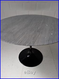 107cm ROUND KNOLL EERO SAARINEN TULIP DINING TABLE MARBRE MARBLE GRIS GREY 1990s