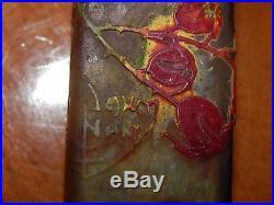 1900-10 Daum Nancy Petit Vase En Pte De Verre Gravé Art Nouveau