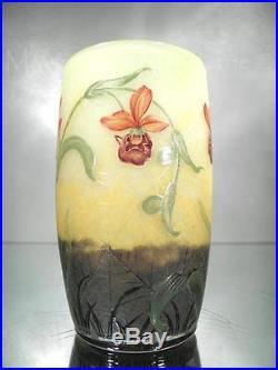 1900-10 Daum Nancy Petit Vase En Pte De Verre Gravé Et Émaillé Art Nouveau