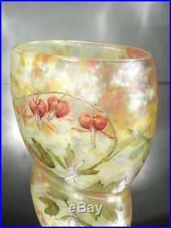 1900-10 Daum Nancy Vase Coeurs De Jeannette Gravé Et Emaillé Art Nouveau