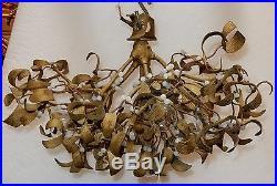 1900' Lustre boule de gui en bronze art nouveau à 5 lampes diamètre 45