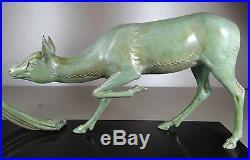 1920/1930 A Ouline Rare Gr Statue Sculpture Art Deco Diane Chasseresse Nue Biche
