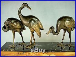 1920/1930 Belle Sculpture Cigognes Art Deco Irenee Rochard Statue Patine Bronze