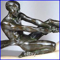 1920/1930 Max Le Verrier Rare Grnde Statue Sculpture Art Deco Athlete Nu Pêcheur
