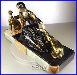 1920/1930 Menneville Grd Statue Sculpture Art Deco Chryselephantine Femme Barzoï