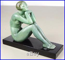 1920/1930 M Guiraud Riviere Rare Sprb Statue Sculpture Art Deco Bronze Femme Nue