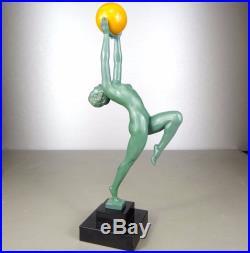 1920/1930 Max Le Verrier Rare Statue Sculpture Art Deco Danseuse Nue Femme Jeu