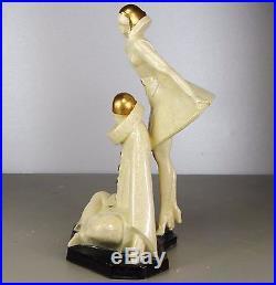 1920/1930 P Le Faguays Rare Statue Art Deco Pierrot Colombine Ceramique Craquele