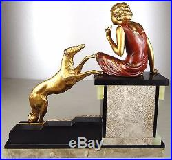 1920/1930 Uriano Rare Gr Statue Sculpture Art Deco Femme Elegante Levrier Barzoï