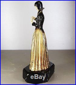 1920/30 Dh. Chiparus Statue Sculpture Chryselephantine Art Deco Femme Marguerite