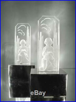 1920-30 Hettier & Vincent Paire De Lampes Métal Et Verre Pressé-moulé Art Déco