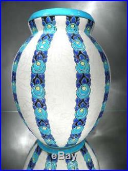 1925 Ch. Catteau Keramis Boch Énorme Vase Rosette En Faïence Fine Art Déco
