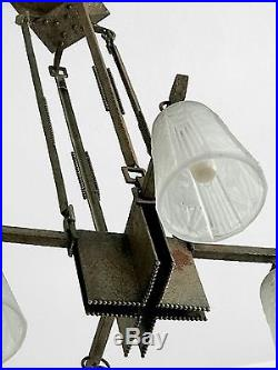 1930 Muller Freres Luneville Lustre Art-deco Moderniste Bauhaus Constructiviste