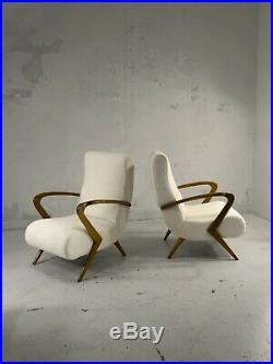 1950 2 Fauteuils Art-deco Moderniste Forme-libre Gio Ponti Free-span