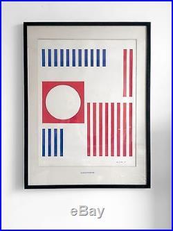 1950 Jan Van Holthe Oeuvre Gouache Cinetique Moderniste Bauhaus De Stijl