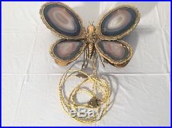 1970 Lampe Applique Papillon D'henri Fernandez Ou Duval Brasseur Agate Et Laiton