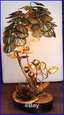 1970' Lampe Aux Anemones Maison Jansen en Laiton