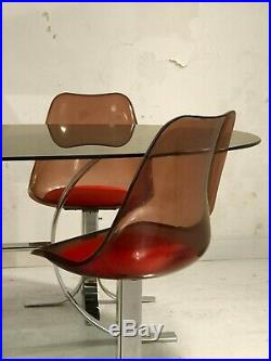 1970 TABLE & 4 CHAISES MODERNISTE SHABBY-CHIC SPACE-AGE POP Kappa Pergay Laverne