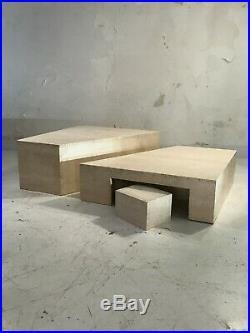 1970 Table Basse Travertin Constructiviste Moderniste Bauhaus
