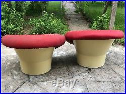 2 Fauteuils Mushroom Vintage Fibre De Verre Années 1970 Pierre Paulin
