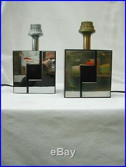 2 pieds de lampe Willy Rizzo plastique et métal chromé et bronze vintage 70