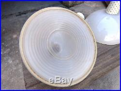 3 Lampe Industrielle Suspension Matégot Pour Holophane Design 1960 Verre Acier