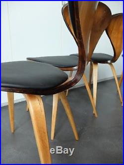 4 Chaises Mid-century Norman Cherner pour Plycraft Plywood chair, USA