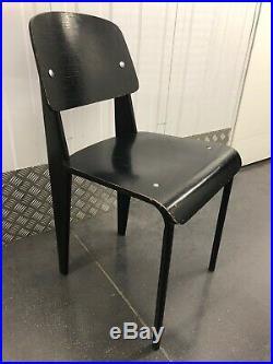 4 Chaises Standard Métropole de Jean Prouvé pour TECTA métal et frêne noir 1970