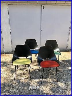 4 Chaises Tonneau De Pierre Guariche -édition Steiner 1950-design