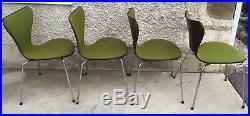 4 chaises ARNE JACOBSEN design 1981 serie 7 rembourré tissu chair FRITZ HANSEN