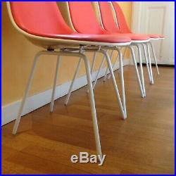 4 chaises Eames Herman Miller édition Orange Vintage Années 70