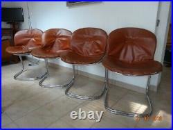 4 chaises vintage, modèle Sabrina de Gastone Rinaldo, housses marron clair