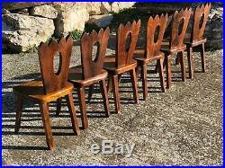 6 chaises dans le goût de Olavi Hanninen style brutaliste Chapo, Dudouyt 1950