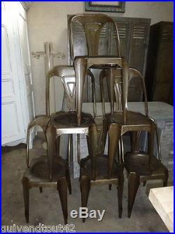 6 chaises multipl's tolix en fer en acier couleur BRONZE meuble de métier