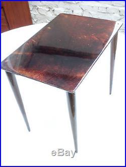ALDO TURA ITALY 1960s GOATSKIN SIDE LOW COFFEE BASE GIGOGNE NESTING TABLE