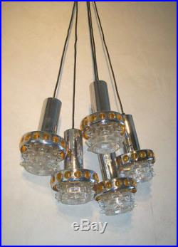 ANCIEN SUSPENSION CASCADE 5 LAMPE CHROME VERRE DESIGN 60 70 space age DLG RAAK