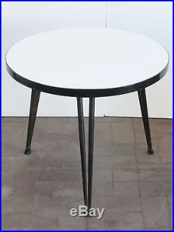 Adorable Table Basse Ronde Tripode Formica 1950 Vintage 50s Coffee Table