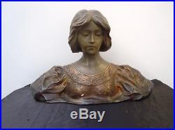 Affortunato Gory buste de jeune fille patine bronze sculpture époque Art Nouveau