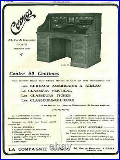 Ancien BUREAU AMÉRICAIN en ACAJOU COSMOS cylindre rideau à caisson comptoir