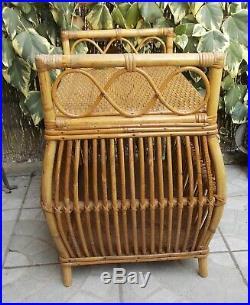 Ancien Coffre Banc En Rotin Osier Vintage