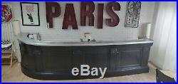 Ancien Comptoir de Boutique bar zinc époque 1900 chêne étain art déco antiquité