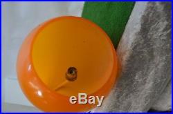 Ancien Grand Lustre Lampadaire Orange Annee 70 80 82 CM