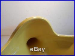Ancien Grand Vase Ceramique Emaillée Jaune Blanc Design 1950 Pol Chambost Jouve
