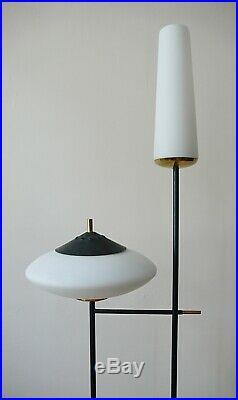 Ancien Lampadaire Arlus Lunel En Metal Et Opaline Annees 50 Design Vintage 1950
