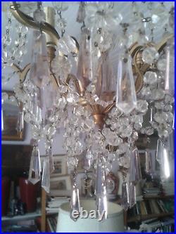 Ancien Lustre Cage En Bronze Et Pampilles Bicolores En Cristal Couleur Violine