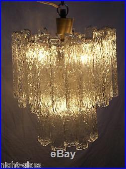 Ancien Lustre Verre De Murano Vénini Design 70-vintage Venini Chandelier/n°t17