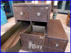 Ancien Meuble Industriel 4 Petits Casiers 32x52x27cm Tha-in-daga Inde