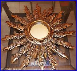Ancien Miroir Soleil En Bois Dore A Double Rayonnement Decale